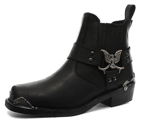 4b85c5b0ee7b Grinders 2014 Eagle Lo Black Mens Cowboy Biker Boots