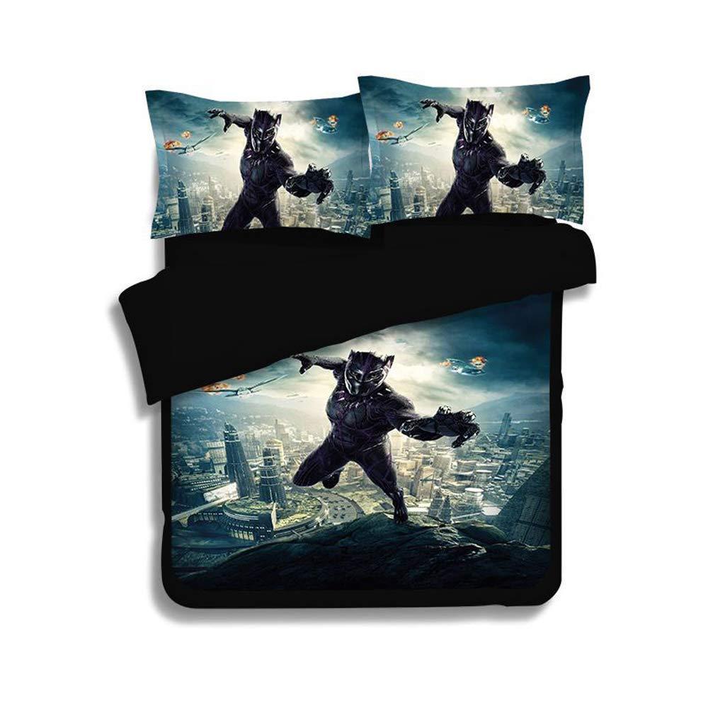 ROMOO 3D Black Panther Duvet Cover Set Kids Cartoon Bedding 3 Piece American Superhero Film Marvel Series Comics Movie Pattern Bed Sets 1Duvet Cover 2Pillowshams King Queen Full Twin Size