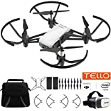 Tello Quadcopter Drone with HD Camera and VR Powered by DJI Technology Fun Flight Bundle With Carry Case, Spare Battery And VR Goggles Headset