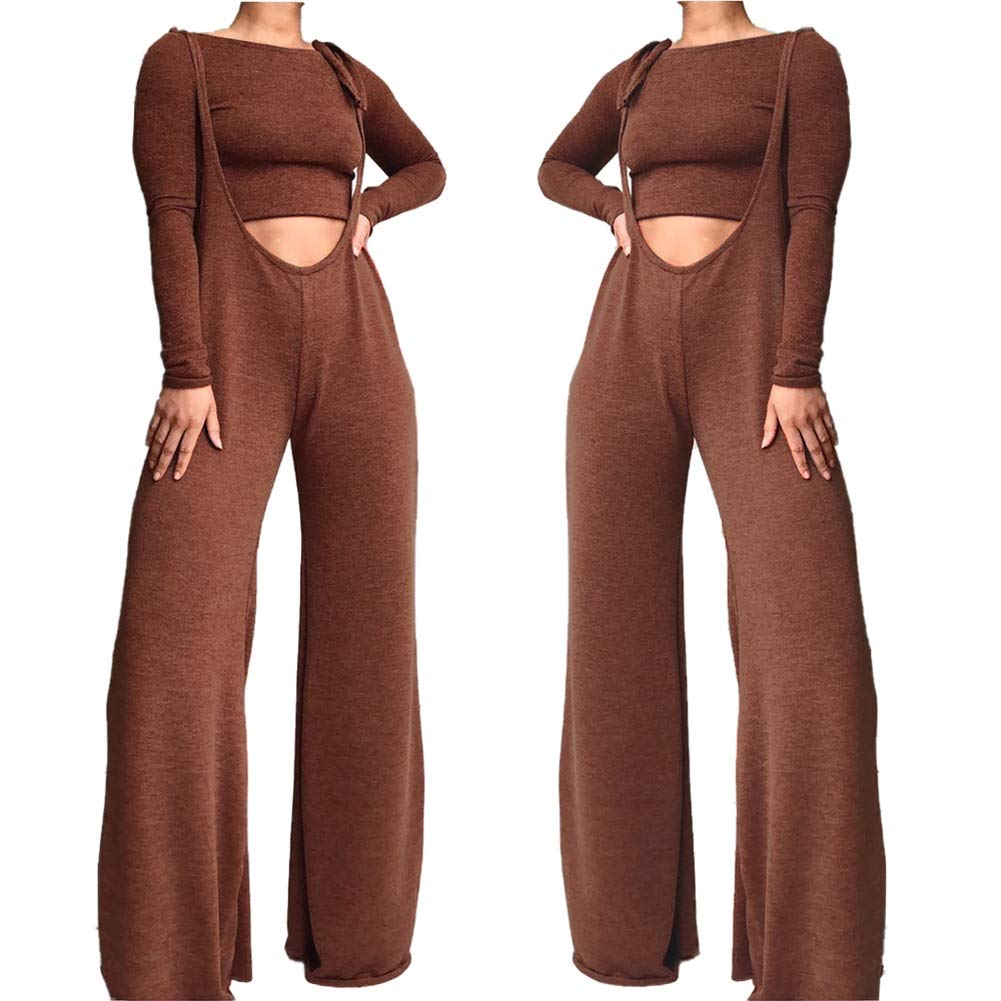 Women Solid Color Round Neck Bodycon Crop Top Long Romper Wide Leg Baggy Bib Overalls Pants Sets