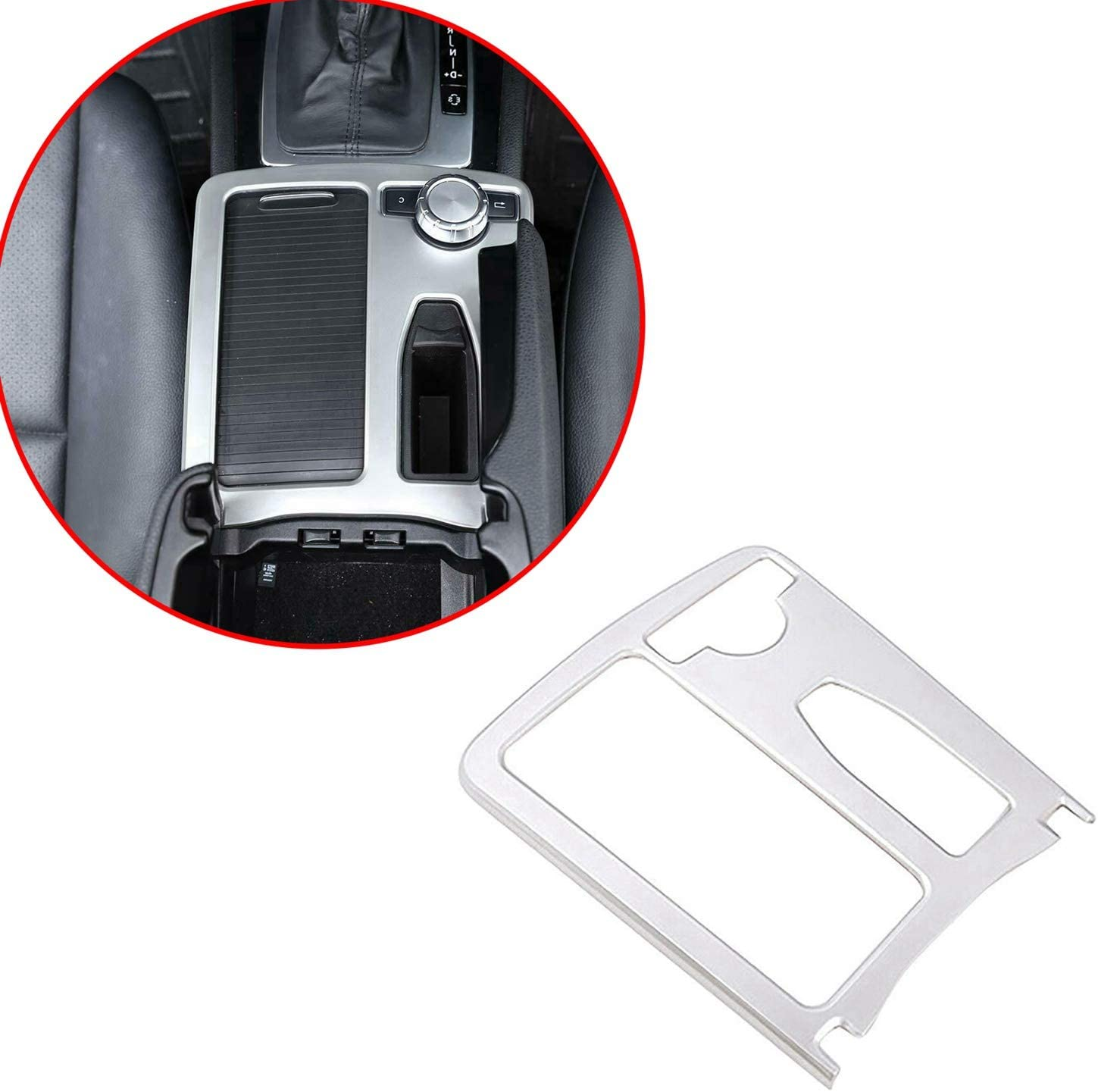 Semoic Car Silver ABS Drive Right Central Console Cup Holder Frame Cover Trim for Mercedes E Class W212 2010-2011