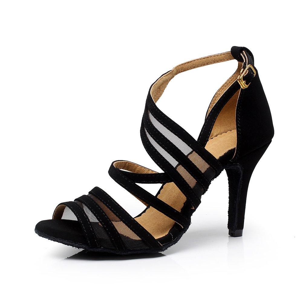 CXS Ladies Open Toe Party Wedding Heels Ballroom Dance Shoes for Salsa Tango and Practice, 2.75'' Heel,Black Nubuck,7.5 B(M) US