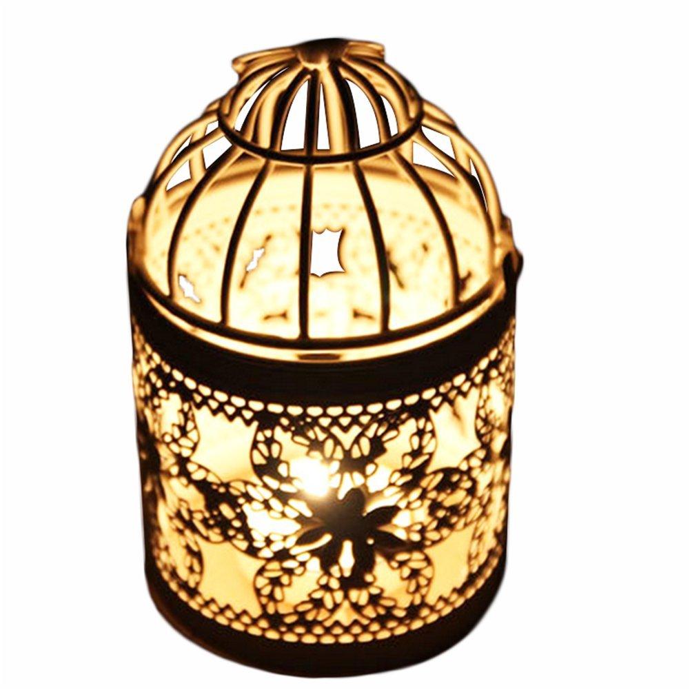 Leisial, portacandela in metallo a forma di gabbia, ideale anche come lanterna centrotavola decorativa per matrimoni, bianca R931355099IQ07103