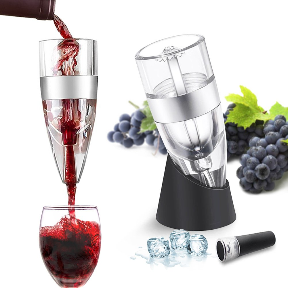 Wine Aerator Pourer - Premium Aerating Pourer and Decanter Spout -Best Aerating Pourer-Bottle Top Air Funnel for Superior Aeration black Ergonomic Design & Elegant (black)