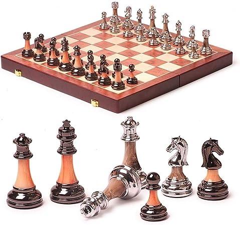 Bzsm Nueva Pieza de ajedrez Juego de ajedrez Juego de Mesa Plegable de Madera Tablero de ajedrez portátil de Viaje Juego: Amazon.es: Hogar