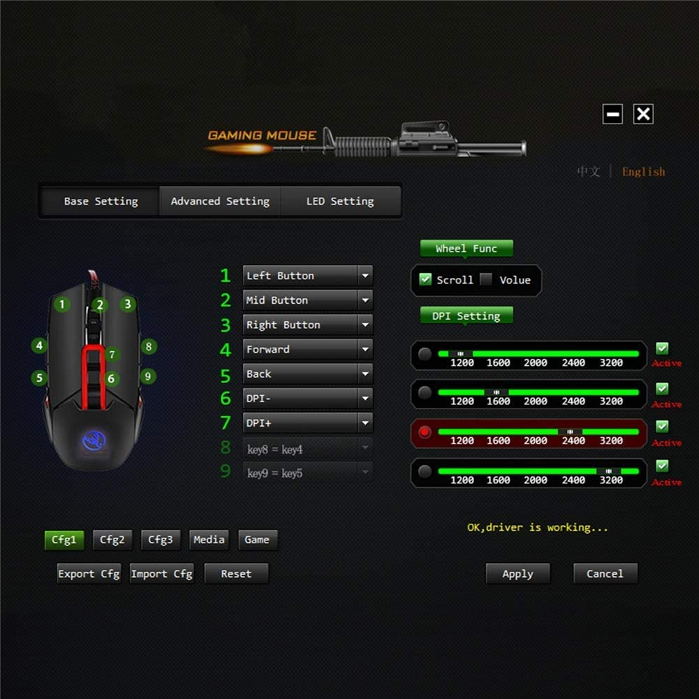 A Gaming Mouse Cool LED Variable Light Effect,Wired Mouse Used for Games and Office 5 Adjustable DPI Levels 7 Programmable Buttons