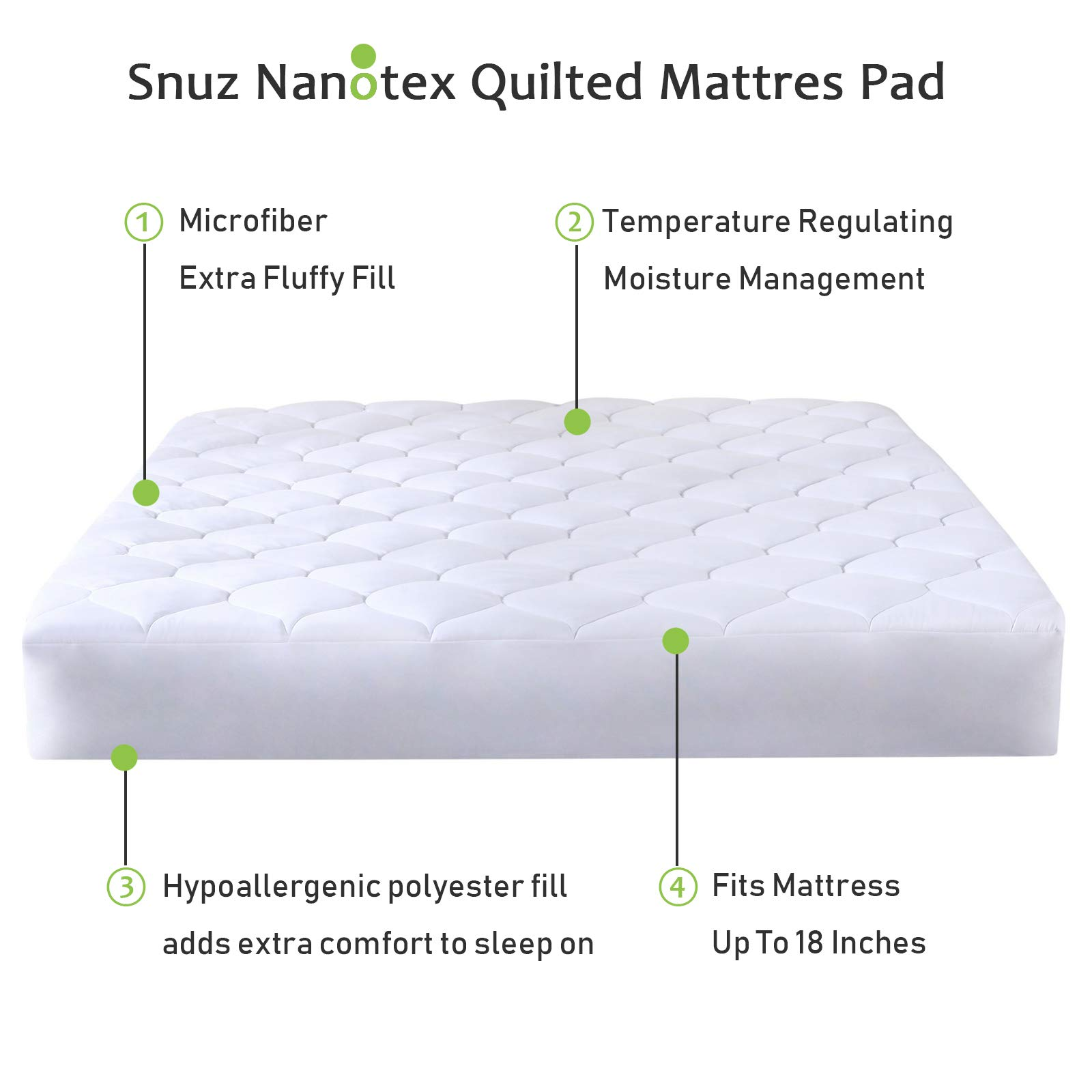 Mattress Pad Quilted Fitted Featuring Nanotex Coolest Comfort Temperature Regulating Cooling Technology. Super Soft SPA Grade Microfiber. Guaranteed to Fit Up to 18 Inch Mattress. (Full Size)