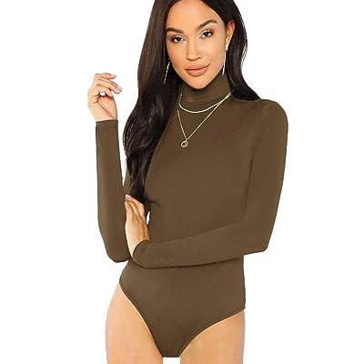 Floerns Women's Long Sleeve Turtleneck Basic Jumpsuits Bodysuit Leotard: Clothing