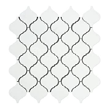 thassos white greek marble lantern arabesque mosaic tile polished