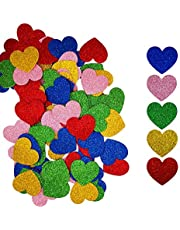 Colorful Heart Glitter Stickers Envelope Seal Self Adhesive Heart Shapes Valentines Day Stickers for Kid's Craft, Pack of 90 by Baryuefull