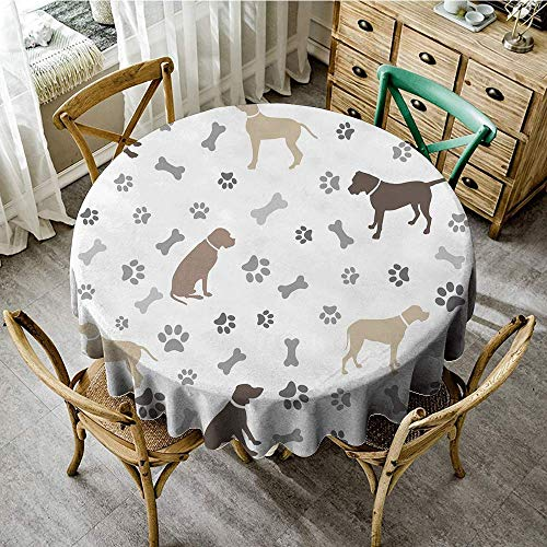 DONEECKL Oil-Proof and Leak-Proof Tablecloth Dog Lover Paw Print Bones and Dog Silhouettes American Foxhound Breed Playful Pattern Great for Buffet Table D39 Umber Beige Grey