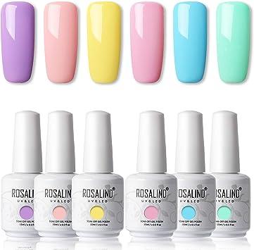 ROSALIND 15ml Esmaltes Semipermanentes de Uñas en Gel UV LED, kit de Esmalte de Uñas Nude 6pcs: Amazon.es: Belleza