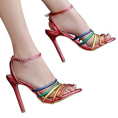6d74eba115604 Amazon.com: Fainosmny Rainbow High Heels Womens Buckle Strap Sandals ...
