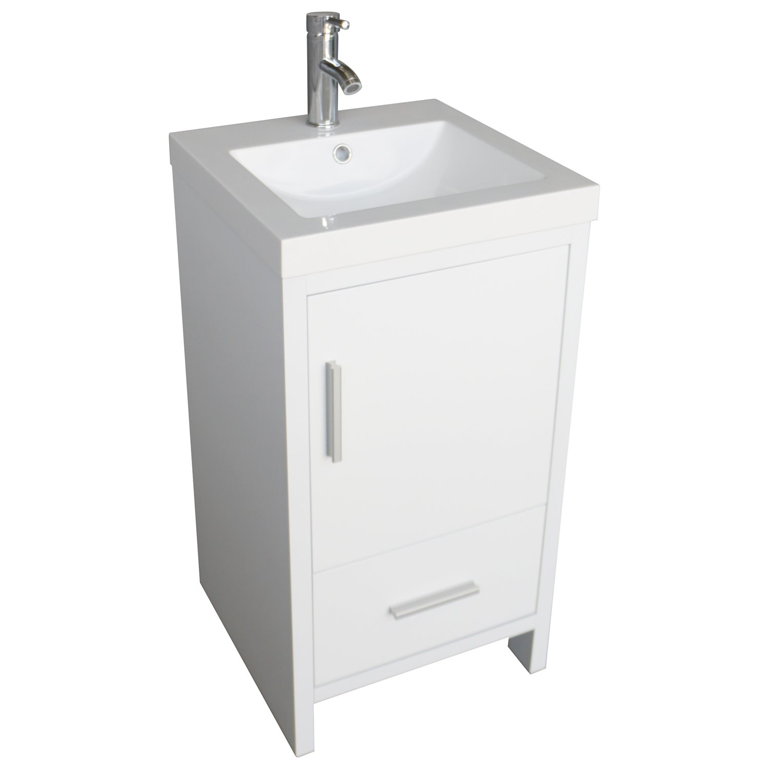 Walcut 18 White Bathroom Vanity Mdf Wood Cabinet Resin Counter Top Vessel Sink Set With Faucet And Pop Up Drain