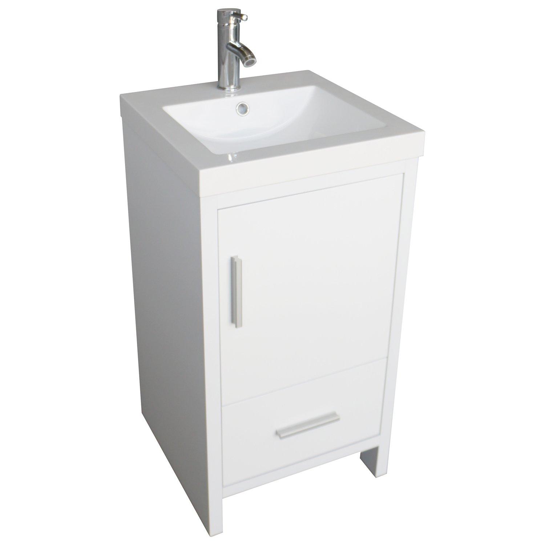 amazon com walcut 18 white bathroom vanity mdf wood cabinet resin rh amazon com 18 inch bathroom vanity and sink 18 bathroom vanity with vessel sink