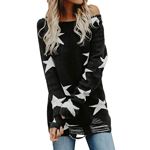 7eb6697a095 Misaky Women's Knitwear Daily Casual Solid Star Pullover Loose Sweater  Jumper Tops Blouse(Black ,