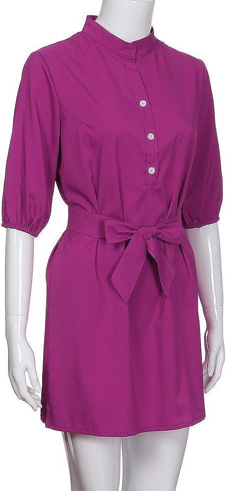 iLUGU Turndown Collar Short Sleeve Mini Dress For Women 1//2 Button Bow-Knot Belt Flowy Dress