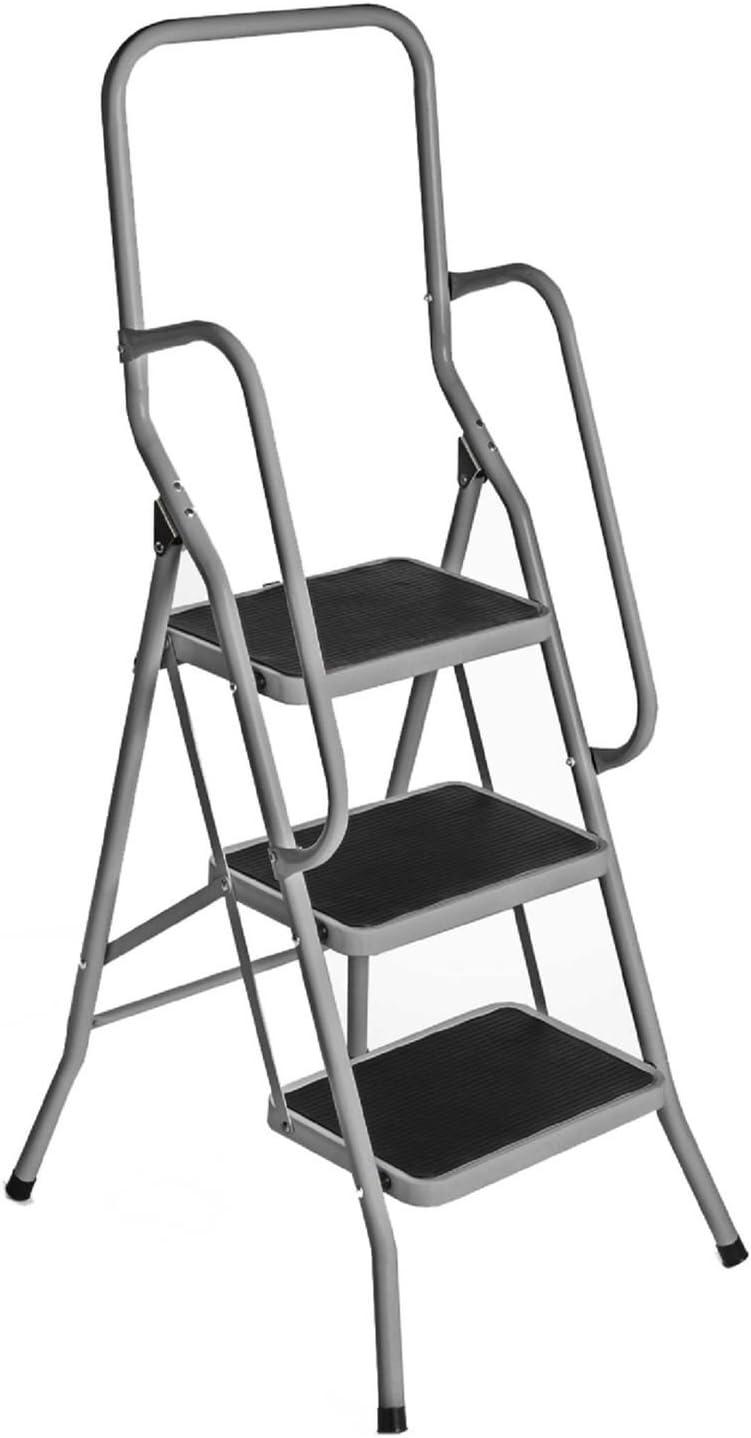 3 paso escalera de seguridad plateado plegable suela antideslizante para barra de cocina plegable: Amazon.es: Bricolaje y herramientas