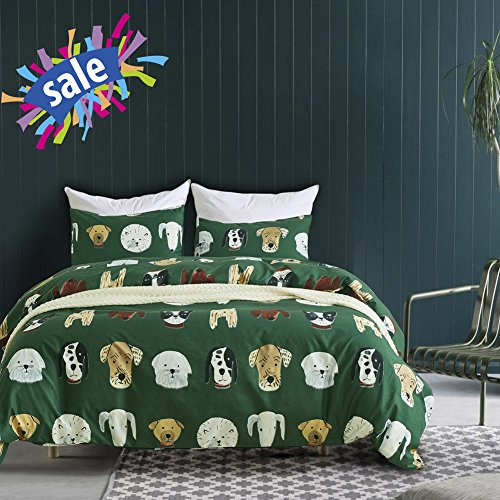 Macohome Cartoon Dog Duvet Cover Set Kids Twin Microfiber Boys Reversible Bedding Set with 2 Envelope Pillowcases (Dog, Twin)