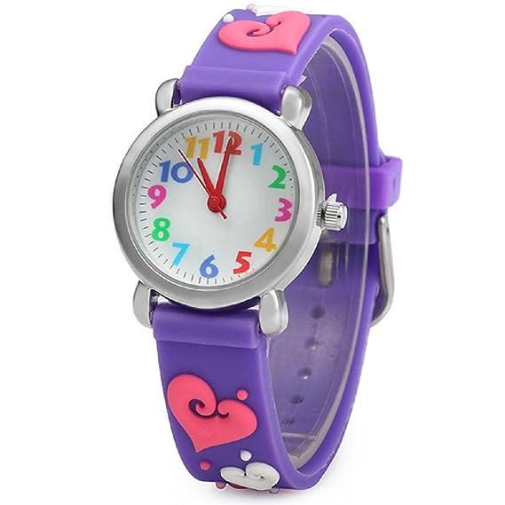 El Reloj de Niños de Vinmori, Reloj de Cuarzo con Dibujos Animados Bonitos de 3D a Prueba de Agua Regalo para Chicos Niños y Niñas Love-Purple: Amazon.es: ...