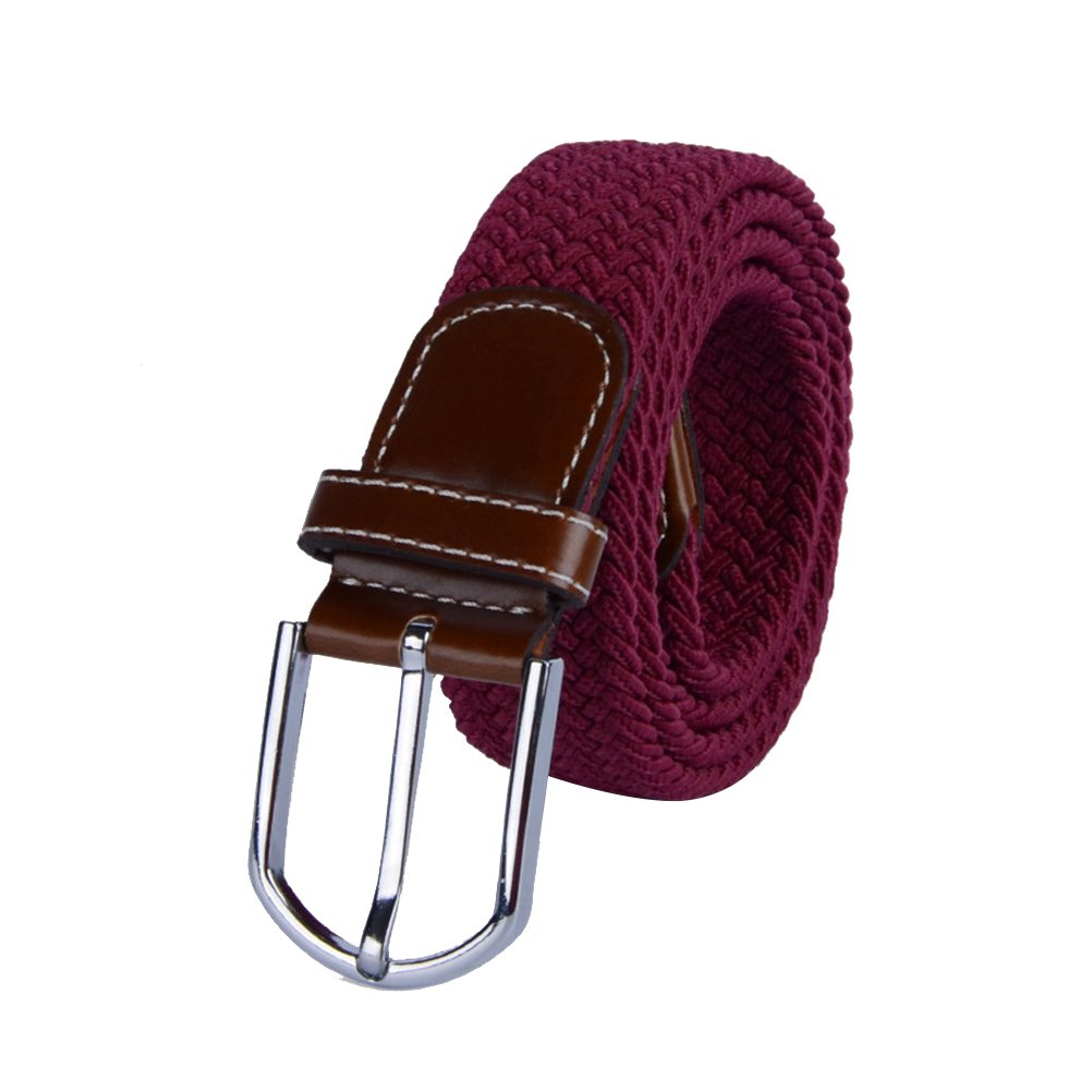 Fenical Universal Braided Stretch Belt Casual Fabric Woven Weave Elastic Belt for Men and Women with PU Leather Loop and End Tip (Jujube Red)