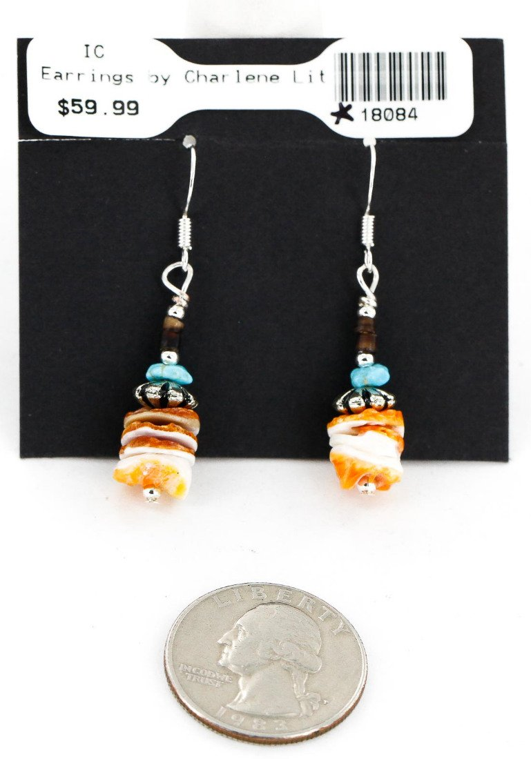 $260 Retail Tag Authentic Made by Charlene Little Navajo Silver Natural Turquoise Spiny Oyster Set Native American Necklace and Earrings by NativeAmericanWholesale