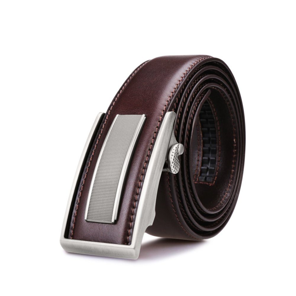 JIEJING Men's Business Belt,Automatic buckle Leisure Belt Youth Student Belt-dark brown 110cm(43inch)