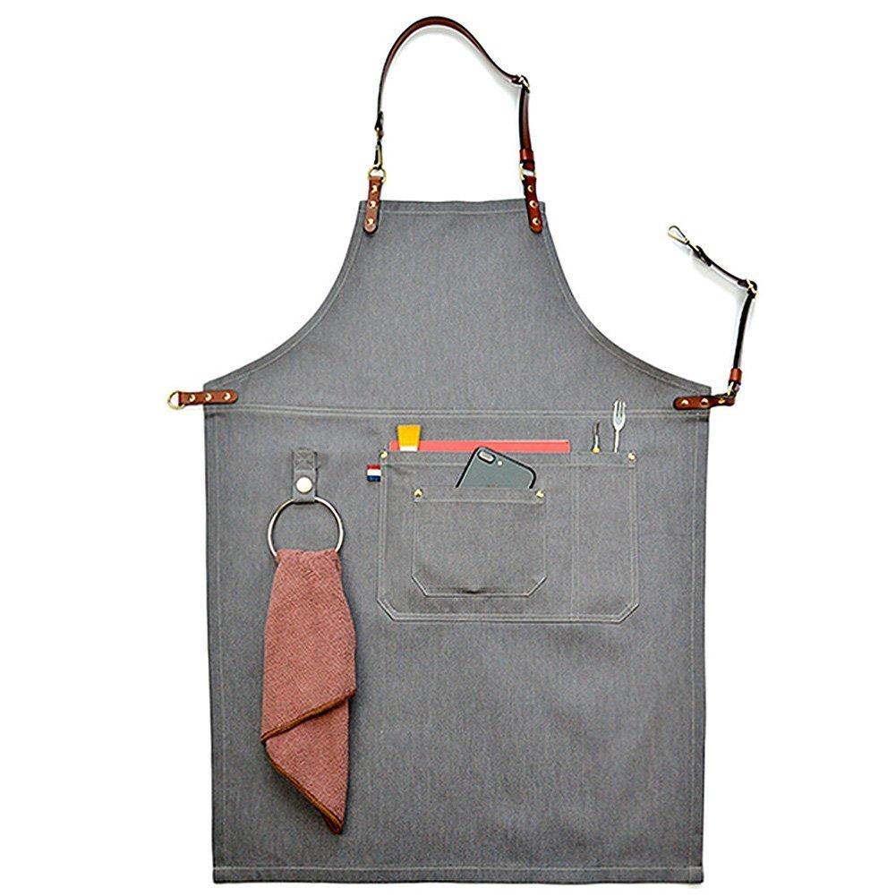 cleanpower Unisex Gray Manual Denim Bib Aprons Leather Strap Chef Kitchen BBQ Tool Pocket Apron (L)