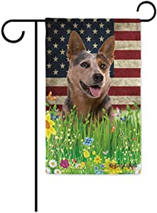 BAGEYOU Cute Puppy Australian Cattle Dog Garden Flag Lovely Pet American US Flag Wildflowers Floral Grass Spring Summer Decorative Patriotic Banner for Outside 12.5x18 inch Printed Double Sided