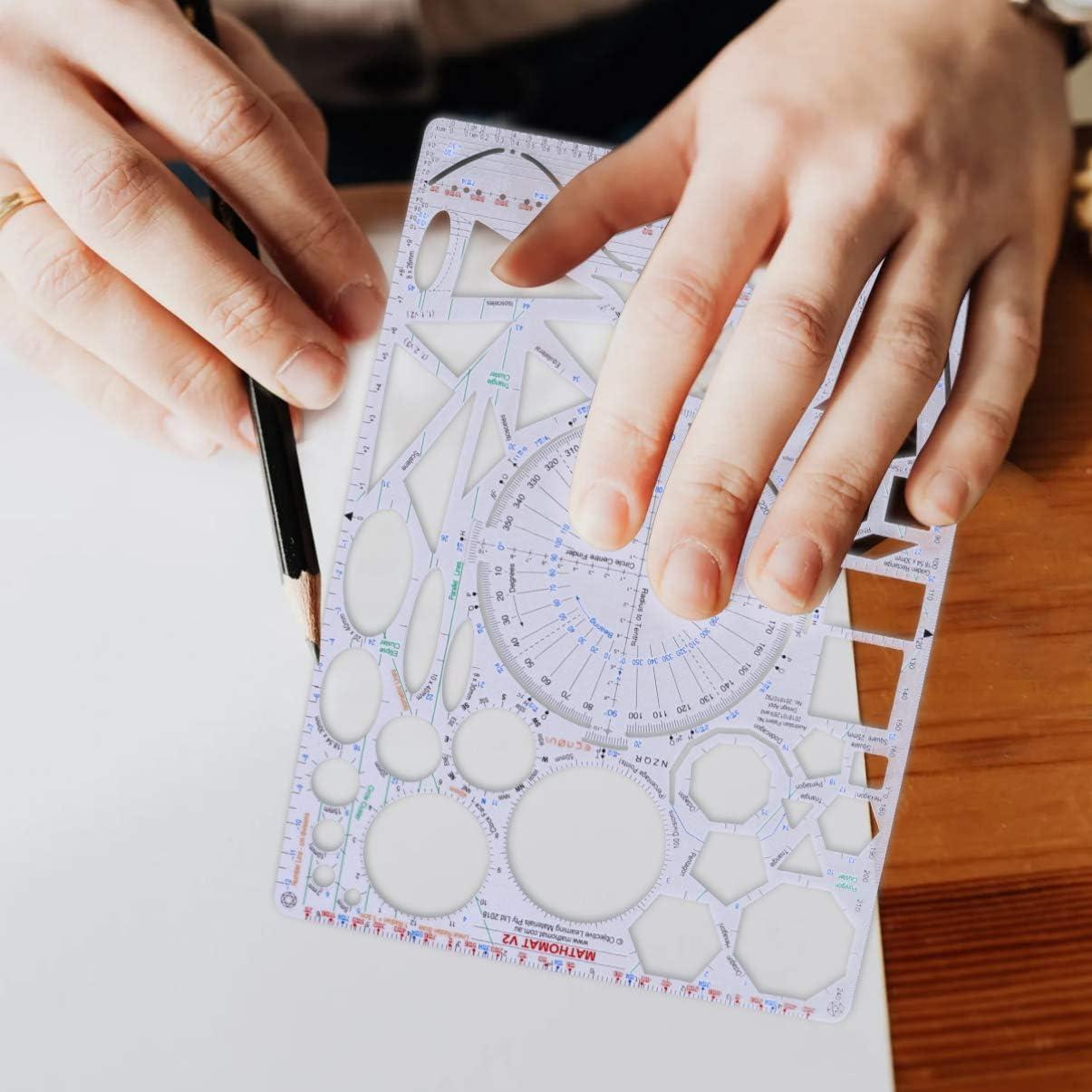 Tomaibaby 2 Piezas Plantilla de Dibujo Geom/étrico Pl/ástico Paisaje Plantilla Muebles Plantillas Regla Formas Herramientas de Dibujo para Pintor Estudiante Dise/ñador