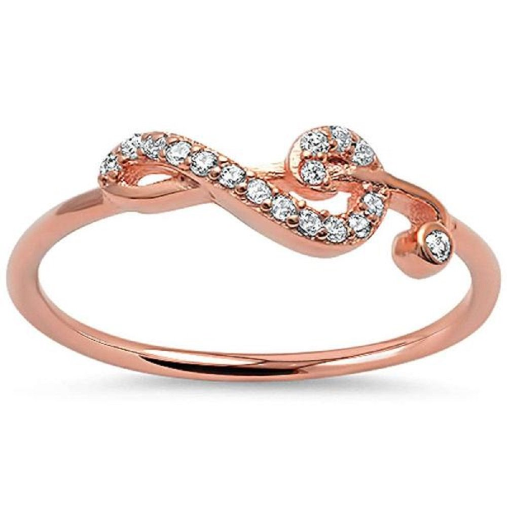 CloseoutWarehouse Cubic Zirconia Sideway Swirl Music Note Ring Rose Gold-Tone Plated Silver Size 4 by CloseoutWarehouse (Image #1)