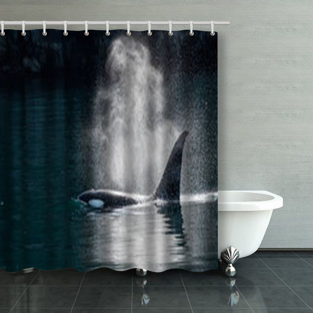 Shower Curtains Design Orca Whale Exhales Sunlight Killer 66x72 Inches Home Decorative Waterproof Polyester Fabric Decor