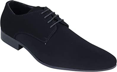 Mens Black Pointed Shoes Laced Nubuck