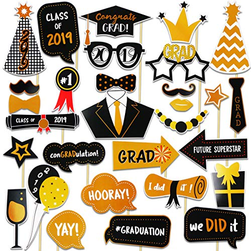 Dadoudou Graduation Photo Booth Props 30Pcs 2019 Glitter Graduation props Party Supplies Props Decorations Grad Decor with Sticks for Kids Boys or Girls -