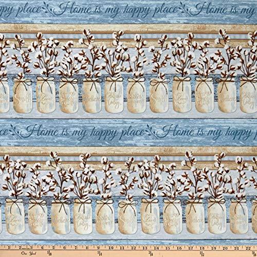 (Timeless Treasures Cotton Blossom Mason Jar Stripe Blue, Fabric by the Yard )