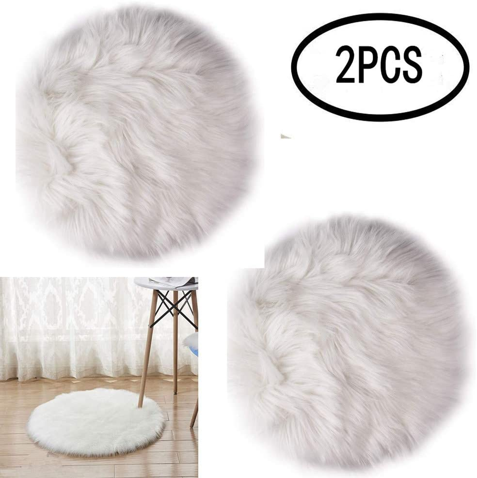 erduoduo 2 Pack Mini Sheepskin Cushion Faux Fur Seat Cover Round Area Rugs for Office Bedroom Living Room,Fit for Photographing Background of Jewellery(12inch)