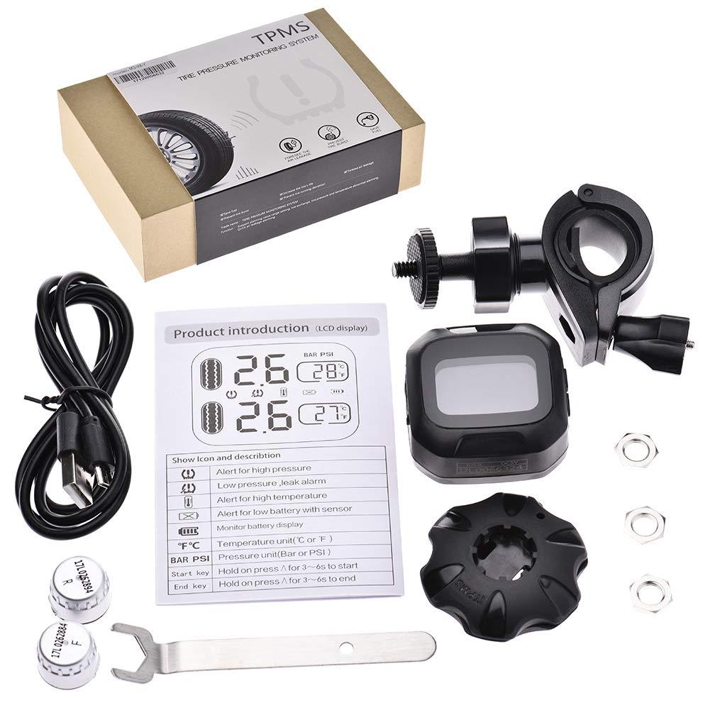 Reifendruck und Temperatur anzeigen 2 Externe Sensoren LCD Display Teifendruck kontrollsystem f/ür Motorrad Runningfish USB Tpms reifendruckkontrollsystem