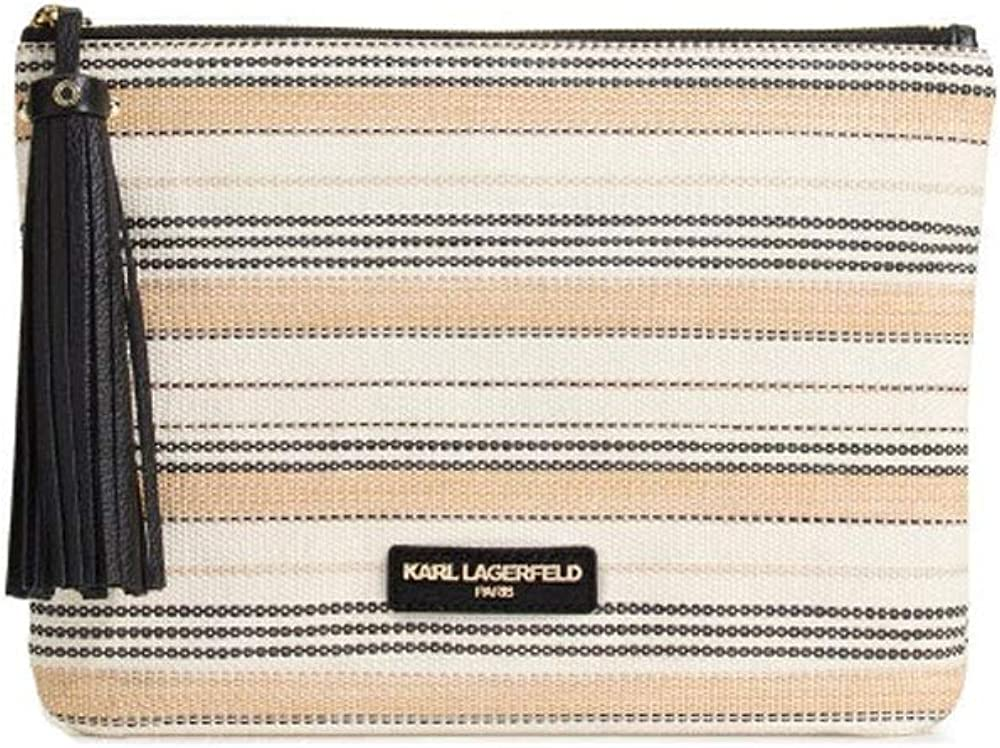 Karl Lagerfeld Striped Toby Clutch Bag Natural