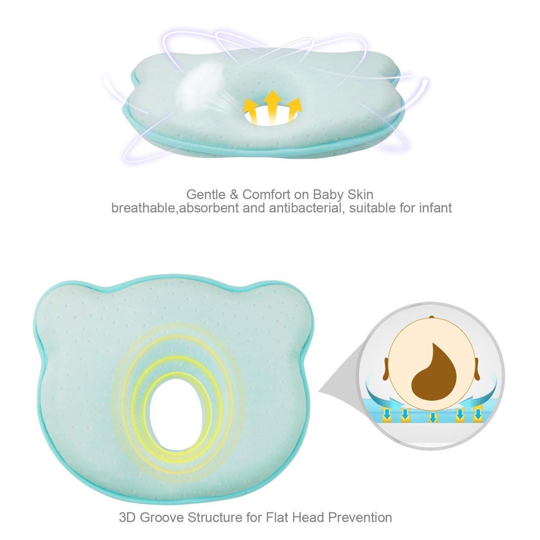 almohada moldeadora 0/a/12/meses Almohada de espuma de memoria para beb/é,/evitar el s/índrome de la cabeza plana en reci/én nacidos rosa rosa Talla:25*20*3.5cm