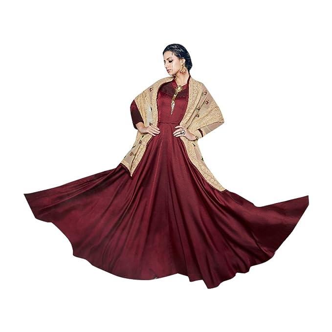 ETHNIC EMPORIUM Fiesta Larga Desgaste Mujeres Musulmanas Vestido Rakhi Eid Festival colección Bordado de Seda Dupatta