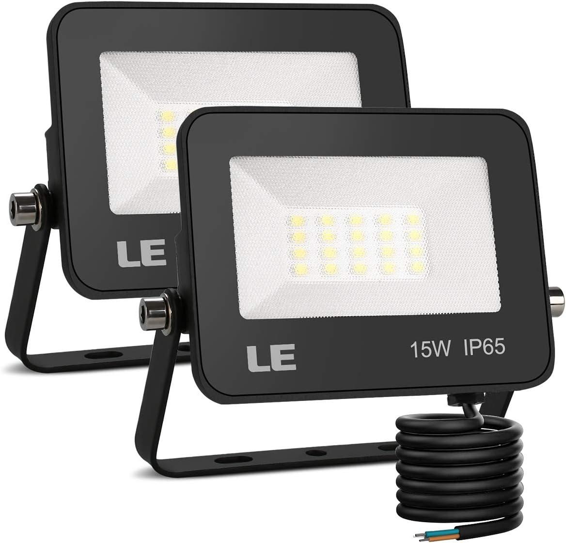 LE Foco LED de 15W, 1500 lúmenes, IP65 resistente al agua, Foco LED Exterior, Blanco Frío 5000 K, Ángulo de haz 120°, Foco Proyector LED para Jardín, Garaje, Hotel, Patio, etc. Paquete de 2