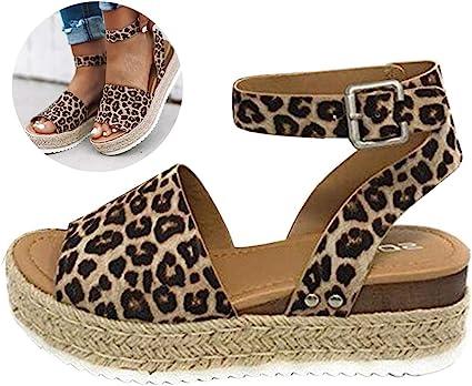 Swiusd Womens Leopard Print Weaved Flat