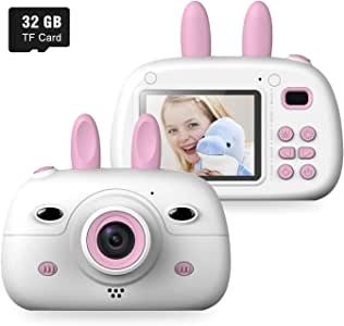 Kids Digital Video Camera Front and Rear Selfie 8MP Mini Rechargeable Children Camcorder, Shockproof Soft Cover 2 Flashlight Toys Camera 3-12 Year Old Boys Girls (32GB TF Card Included) (Pink)