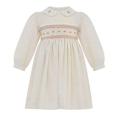 495df6761616c Carriage Boutique Baby Girl Classic Hand Smocked Long Sleeve Dress - White