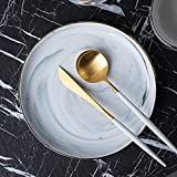He Xiang Ya Shop Round white flat plate tableware ceramic steak plate fruit salad plate pasta plate home creative plate 21 cm (8 inches)