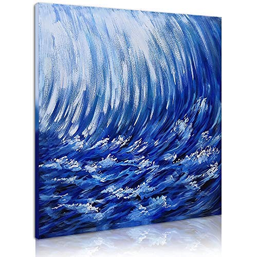 OKBONN Paintings-Blue Ocean Wall Art Hand Painted Sea Picture Seascape Canvas Abstract Artwork for Living Room Bedroom