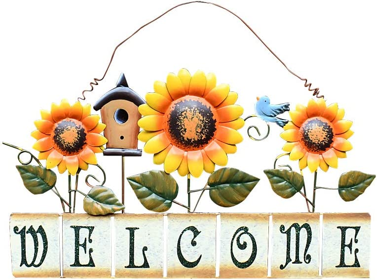 E-view Sunflower Welcome Sign Decorative Vintage Metal Wall Hanging Home Garden Decor - Welcome Plaque for Front Door, Garden Themed Sunflower & Bird