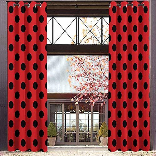 Peace Top Inspired Silk (hengshu Red and Black Blackout Curtains - Gasket Insulation Retro Vintage Pop Art Theme Old 60s 50s Rocker Inspired Bold Polka Dots Image Blackout Curtains for The Living Room W72 x L108 Inch Scarlet)