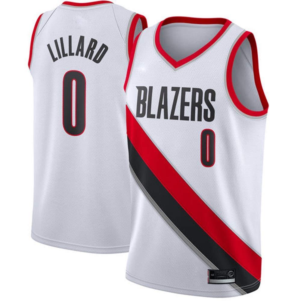 LSYR Baloncesto Jersey Trail Blazers Lillard 0 Jersey Blanco Negro Transpirable Baloncesto Uniforme Chaleco,Blanco,M 175~180cm