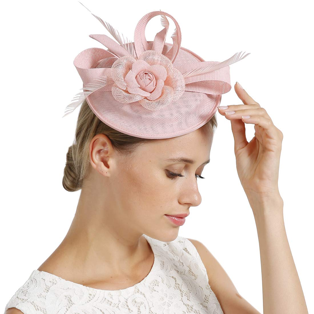 FAYBOX Fascinators Hat Flower Mesh Ribbons Feathers Tea Party Cocktail Headband for Girls and Women